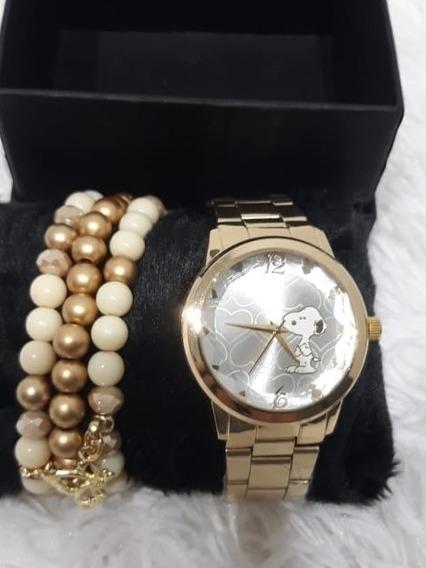 Relógio Feminino Kit Com Pulseiras E Estojo