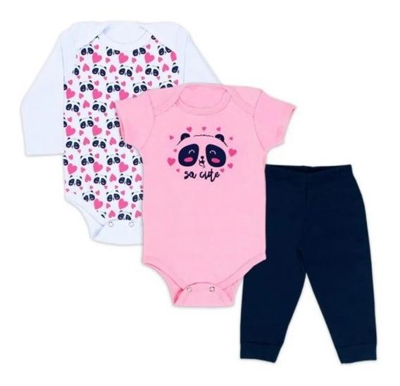 3 Pçs Roupa Menina Bebê Body Ursinho Panda Cute Bodie Neném