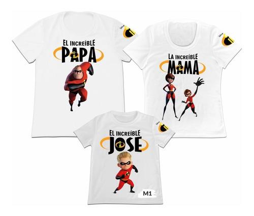 Camiseta Set 3 Familia Mama Papa Hijo Los Increibles 2