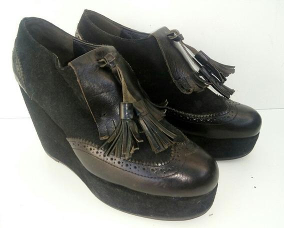 Zapatos Plataforma Maria Cher 38 Cuero Negros Mocasines