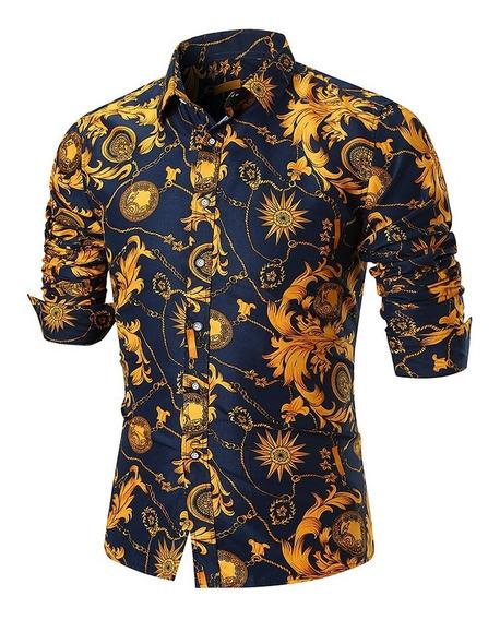 Camisa D/botones Estilo Retro C/estampado Floral Manga Larga