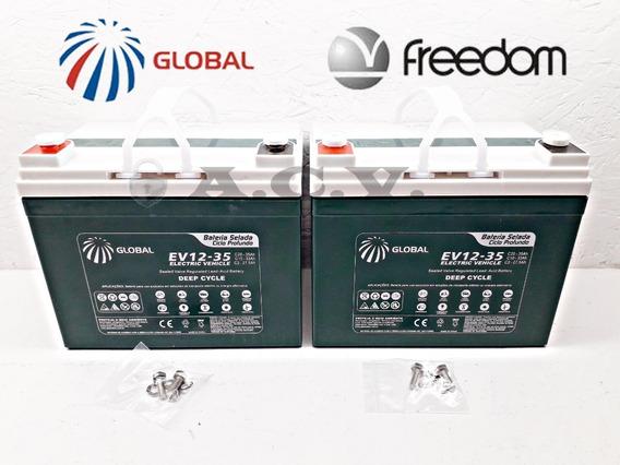 02 Baterias Selada 12v 35ah Para Cadeira De Rodas Freedom