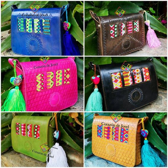 Lote De 6 Hermosas Bolsas De Piel/cuero/bordadas Elegantes Artesanales Típicas De Chiapas