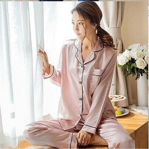 Pijama Set Manga Larga Pantalon Mujer Nightwear Pink Talla M