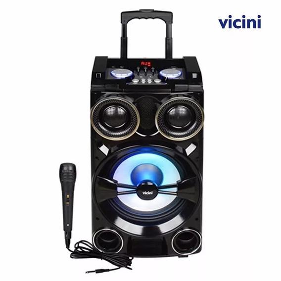 Caixa De Som Bluetooth 300w Rms Karaokê Rádio Fm Vc7301