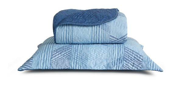 Kit Colcha Micromatelado Boutis Moho Queen Azul