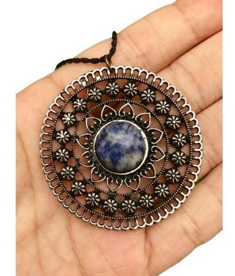 Colar Mandala Prateada Com Pedra Sodalita