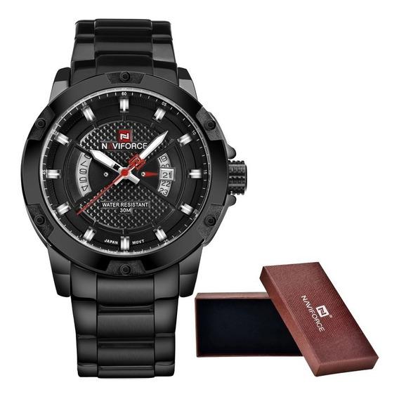 Relógio De Aço Masculino Original Naviforce Modelo All Black Série Luxo