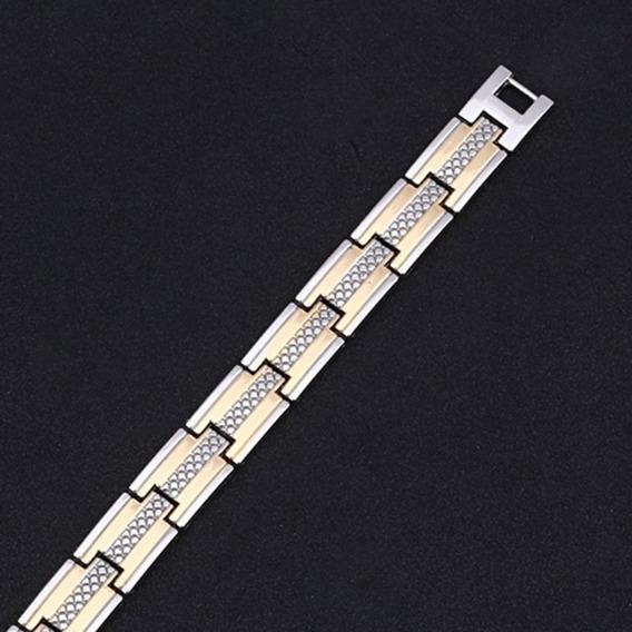 Pulseira Magnética Fir Unissex Energética Bracelete Aço Inox
