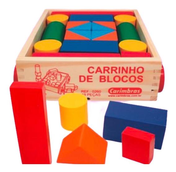 Jogo Carrinho De Blocos Brinquedo Educativo Infantil Madeira