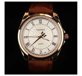 Relógio Social Pulseira Couro Casual Luxuoso Dourado Yazole