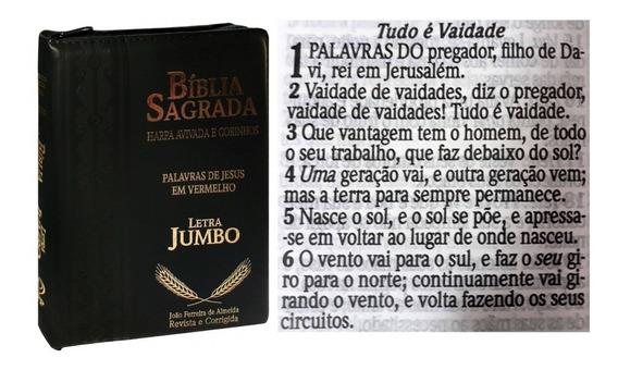 Bíblia Jumbo Letra Gigante Com Harpa Corrigida Ziper Pt