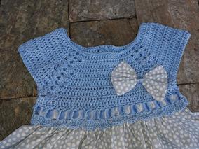Vestido Infantil Pala Em Crochê E Saia Em Tecido