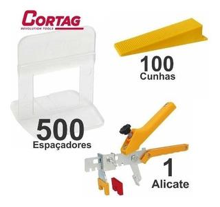 Kit 500 Espaçador Nivelador + 1 Alicate + 100 Cunhas Cortag