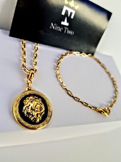 Colar Banhado A Ouro 18k Cordão Ping Leão