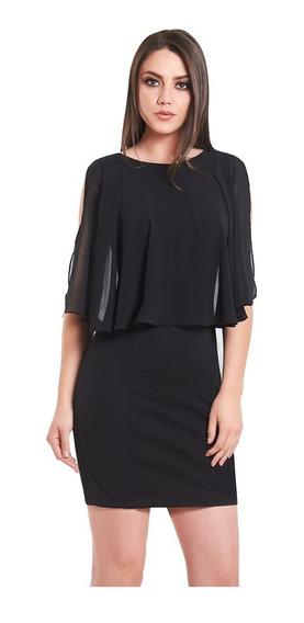 Vestido Negro Entallado Capa Incluida Devendi Denim Co