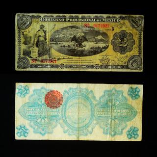 Billete 2 Pesos 1915 Gobierno Provisional Revolucion Veracru