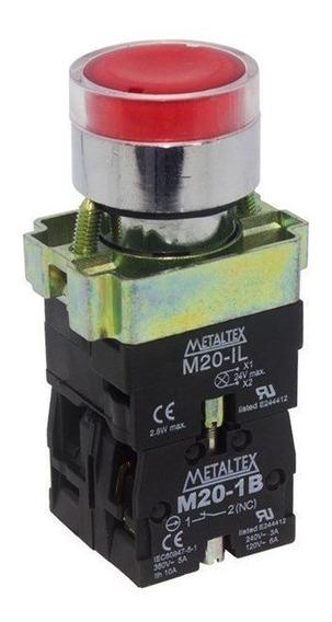 Botão De Impulsão Iluminado 22mm 1na+1nf M20igr-r7-1c Vermelho Metaltex