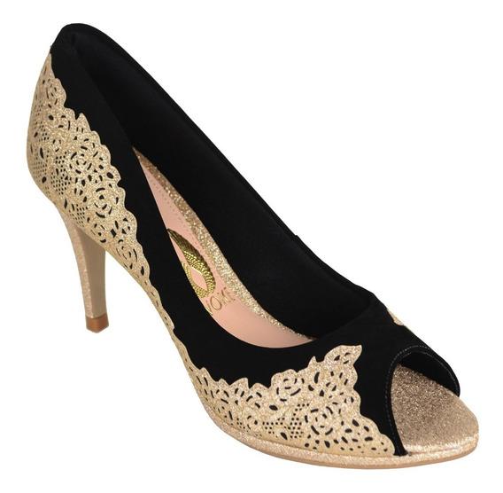 Sapato Peep Toe Salto Dourado Invoice