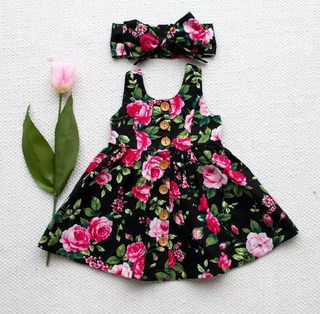 Vestido Bebe Importado Infantil Verão Preto Floral