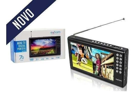 Mini Tv Digital Portátil Hd Sd Usb Fm Antena Exbom 7