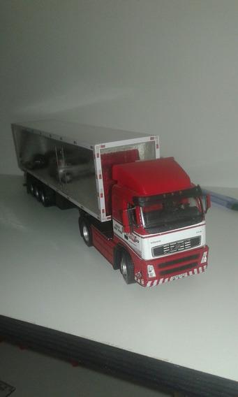 Miniatura Volvo Fh Com Carreta Baú 1/50