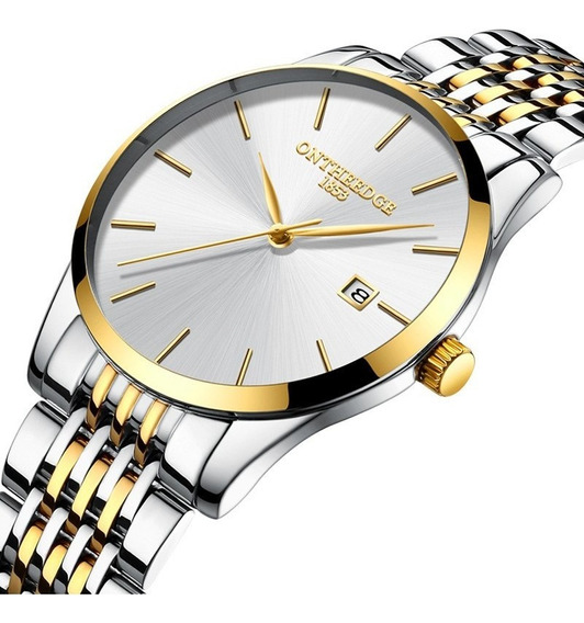 Relógio De Quartzo Com Pulseira De Aço Inoxidável Branco