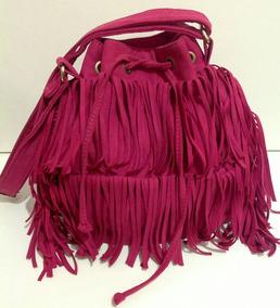 Bolsa Feminina Com Franja Camurça Rosa Pink / Um Charme