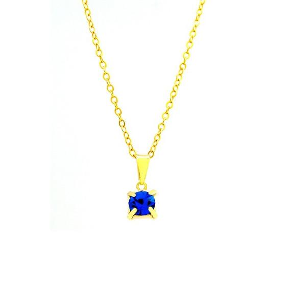 Kit 10 Gargantilha Ponto De Luz Azul Banhada Ouro 18 K