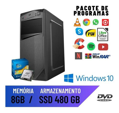 Imagem 1 de 2 de Computador Pc Desktop Cpu Core I3 8gb Ssd 480 Windows 10 Pró