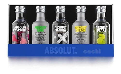 Imagen 1 de 4 de Vodka Absolut X 5 Mini 50ml Cada Una
