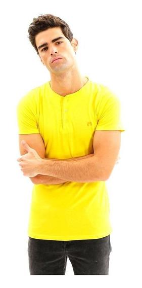 Playera Beisbolera Amarilla Con Botones Frontales