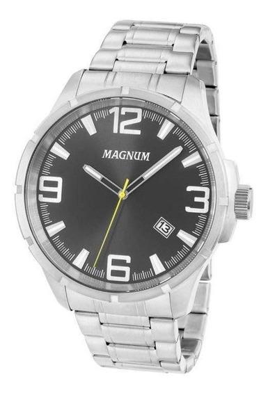 Relógio Masculino Grande Magnum Prata Com Data Ma34781t