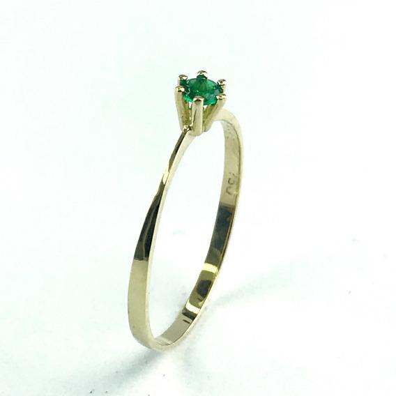 Anel Solitário 1 Pedra Zircônia Verde 3.00 Ouro 18k 03-100