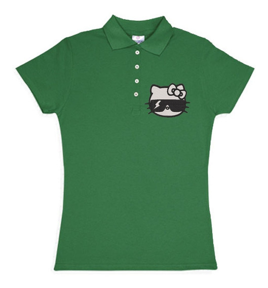 Playera Polo Hello Kitty Lentes De Sol Colores Bordada Opcion Personalizada