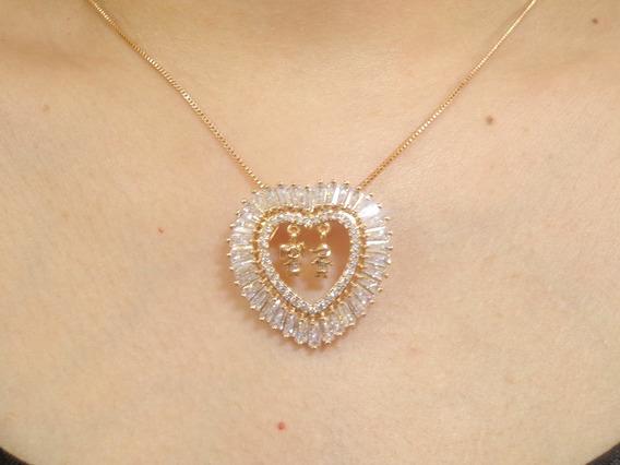 Corrente Dourado Coração Cristal/strass Casal Pendurado