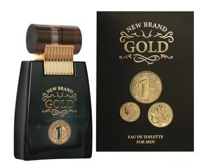 01 Perfume Masculino New Brand Gold De 100ml 100% Original