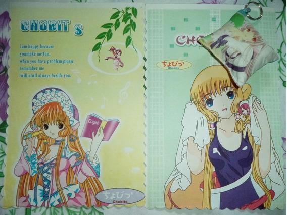Lote Papelaria Papel De Carta Anime Chobits E Chaveiro
