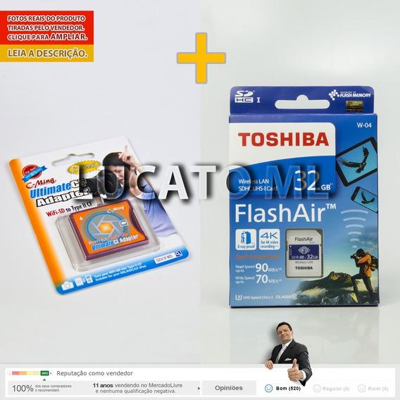 Sd Wifi Toshiba Geração W04 + Adaptador Sd / Compact Flash 2