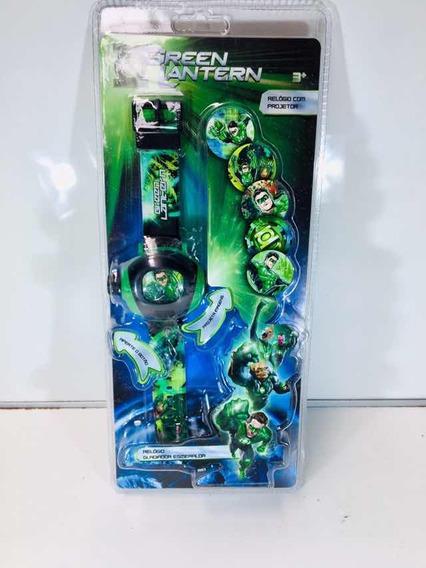 Relógio Infantil Lanterna Verde Com Projetor Novo S/ Bateria