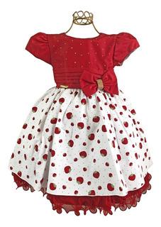 Vestido Infantil Moranguinho Tema Festa Aniversário + Frete