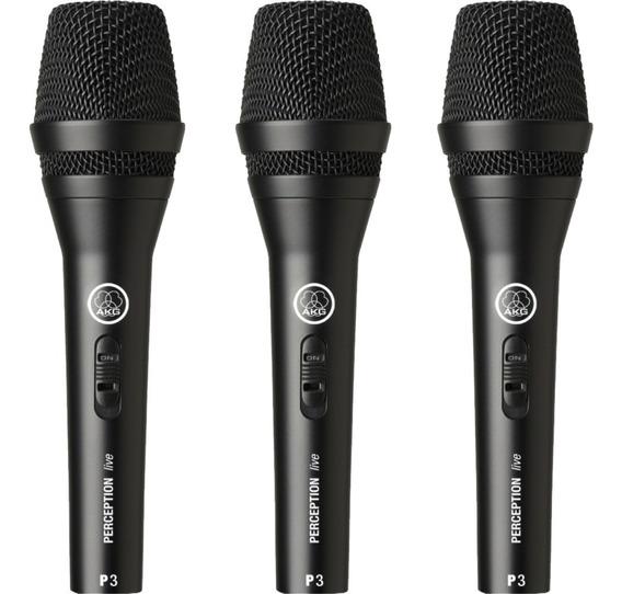 Kit 3 Microfone Akg P3s Perception Dinâmico Original + Nota