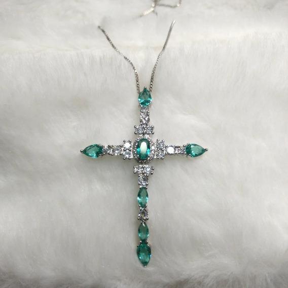 Colar Crucifixo Prateado Folheado Semijoia Cruz