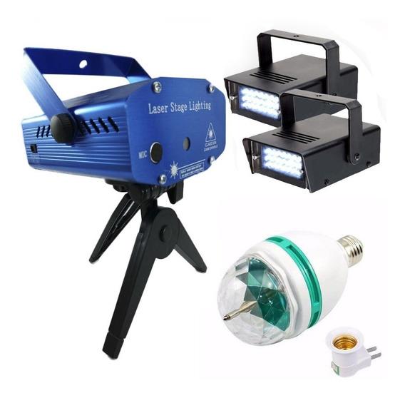 Kit Iluminação Festa Com Laser 2 Strobo Bola Maluca Led 110v