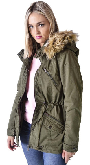 Campera Parka Militar Corderito Corta Mujer The Big Shop