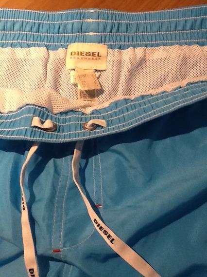 Bermuda Shorts Diesel Beachwear Azul Original Pronta Entrega