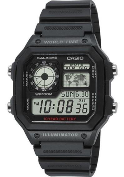 Relógio Casio Ae-1200wh-1a Horário Mundial 5 Alarmes