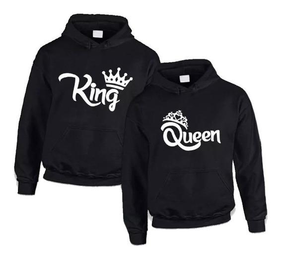 Kit Com 2 Blusas Unissex Moletom King & Queen Casal +modelos