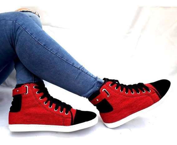 Sam123 Zapatillas Talles Grandes Mujer Zap Roja Y Negra