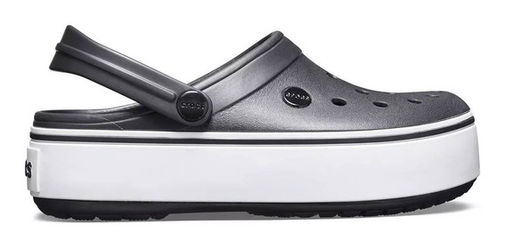 Crocs Crocband Plataforma Clog Black/white Originales (1101)